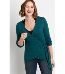 maurices womens 24/7 solid cozy tie wrap long sleeve tee green
