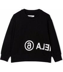 maison margiela black cotton sweatshirt
