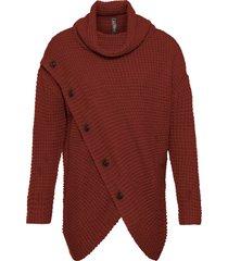 maglione asimmetrico con fondo asimmetrico e bottoni in simil corno (marrone) - rainbow