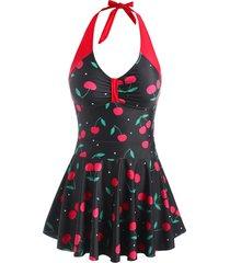 halter cherry print boyshorts peplum tankini swimwear