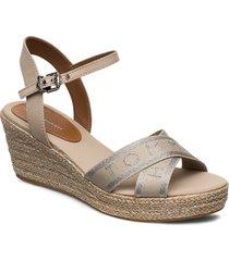 th metallic mid wedge espadrille sandalette med klack espadrilles beige tommy hilfiger