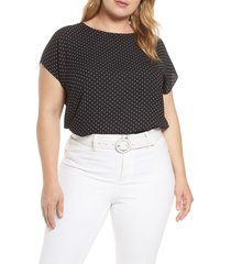 plus size women's halogen cap sleeve blouse, size 1x - black