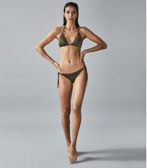 reiss lula - self tie metallic bikini briefs in khaki, womens, size 10