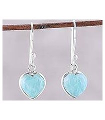 amazonite dangle earrings, 'sweet adoration' (india)