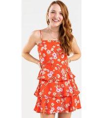 ariah floral mini dress - red