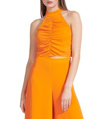 staud women's tahlia ruched halter top - monarch - size 2