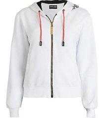 logo floral zip sweatshirt