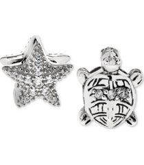 rhona sutton 2-pc. set cubic zirconia starfish and turtle bead charms in sterling silver