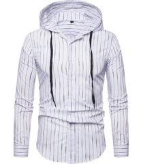 mens stripe printing pulsanti top con cappuccio sottile long camicia