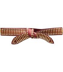 alberta ferretti pyramid stud knotted belt - red