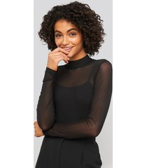 na-kd party lined mesh polo body - black