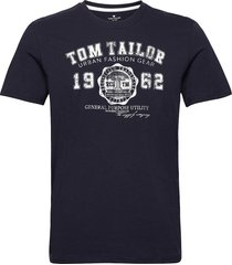 logo tee t-shirts short-sleeved blå tom tailor