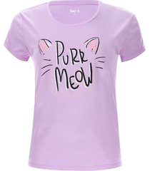 camiseta descanso meow color morado, talla xl