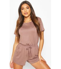 soft mix and match pyjama short, mocha