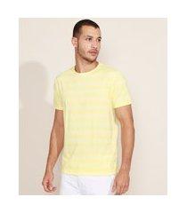 camiseta masculina básica listrada manga curta gola careca amarela
