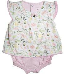 macacã£o curto bata florido rosa beb㪠keko & beka rosa - rosa - feminino - dafiti