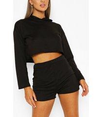 soft melange hoodie & short lounge set, black