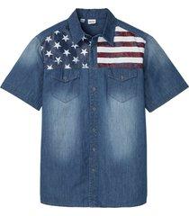 camicia in jeans a maniche corte con bandiera usa (blu) - john baner jeanswear