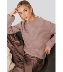 na-kd trend folded sleeve chunky sweater - pink