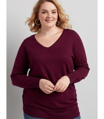 lane bryant women's v-neck ruched side sweater 26/28 pickled beet
