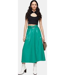 green full circle vinyl skirt - bright green