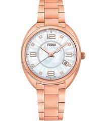 fendi women's stainless steel, mother-of-pearl & diamond bracelet watch