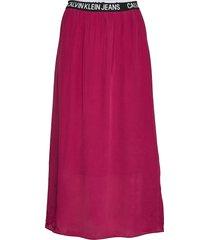 logo elastic midi sk knälång kjol röd calvin klein jeans