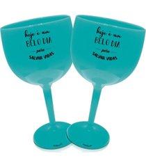 2 taã§as gin azul acrãlico personalizada salvar vidas - azul - dafiti