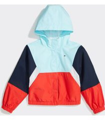 tommy hilfiger girl's adaptive colorblock hooded jacket vero beach blue/ multi - xl