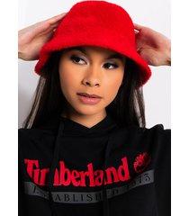 akira fuzzy red bucket hat