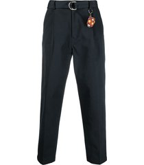 doublet ring-buckle tapered trousers - blue