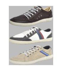 sapatênis kit 3 pares dexshoes casual marrom/branco/cinza