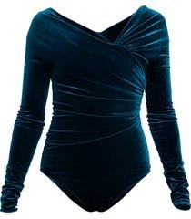 velvet off shoulder bodysuit