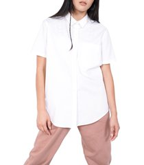 bp. + wildfang short sleeve button-up shirt, size large in white at nordstrom