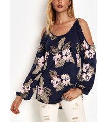 camiseta de manga larga con hombros descubiertos y estampado floral aleatorio azul marino