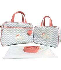 kit bolsa maternidade chevron cinza com coral nuvem alinhado baby - 03 peã§as - coral/rosa - menina - dafiti