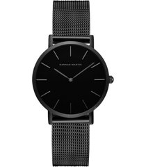 reloj mujer lujo marca acero inoxidable hannah martin 3690-wyh negro