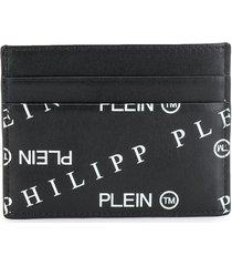 philipp plein all-over logo card holder - black