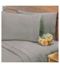 lençol avulso s/ elástico percal 400 fios ponto palito casal cinza