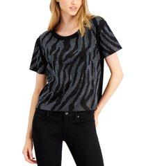 guess sharon studded zebra-pattern t-shirt