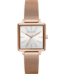 ax armani exchange women's lola rose gold-tone stainless steel mesh bracelet watch 30mm