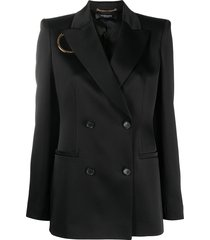 versace o-ring cutout double-breasted blazer - black