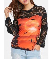 halloween plus size lace panel bat print t-shirt