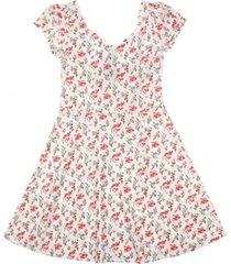 vestido floral espalda elasticada eternal romance rosado ficcus