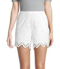 compay scalloped cotton-eyelet shorts