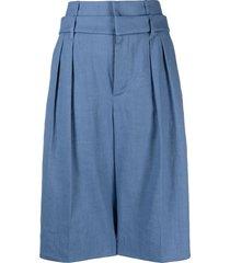 brunello cucinelli high-rise pleated bermuda shorts - blue