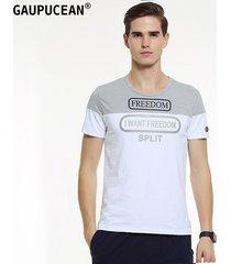 camiseta manga corta cuello redondo casual gaupucean para hombre-gris