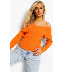 geribbelde gebreide trui met open schouders, orange