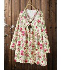 camicetta lunga con stampa floreale con scollo a v manica lunga plus taglia mini abito