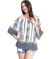blusa off the shoulder estampado étnico azul nicopoly